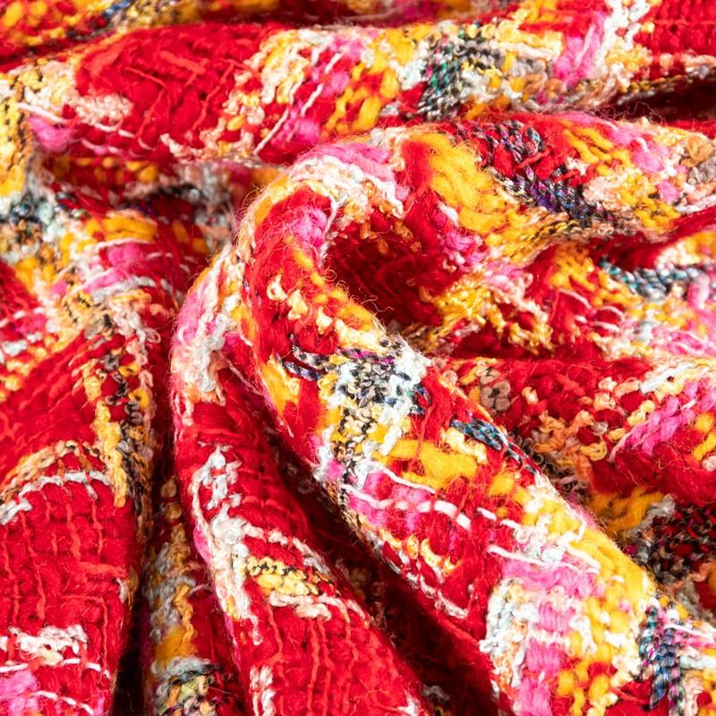 Tissu-tweed-chanel-rouge-jaune