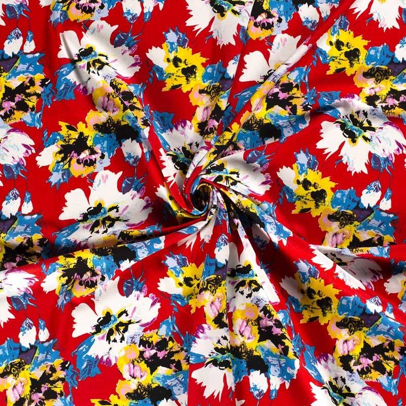 Tissu-toile-viscose-lin-rouge-fleur-multicolore