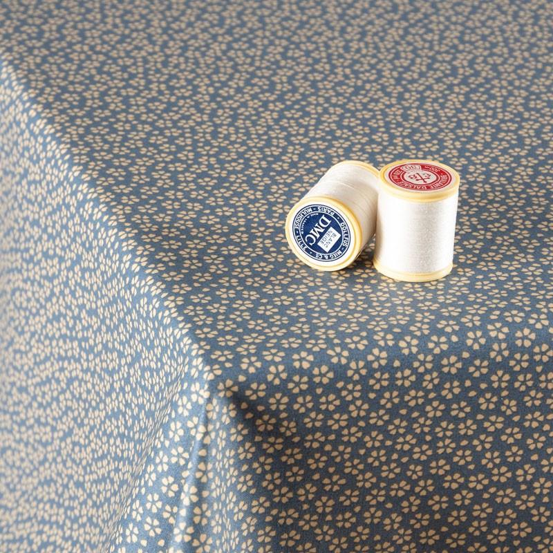 Tissu-coton-Enduit-bleu-fleuri