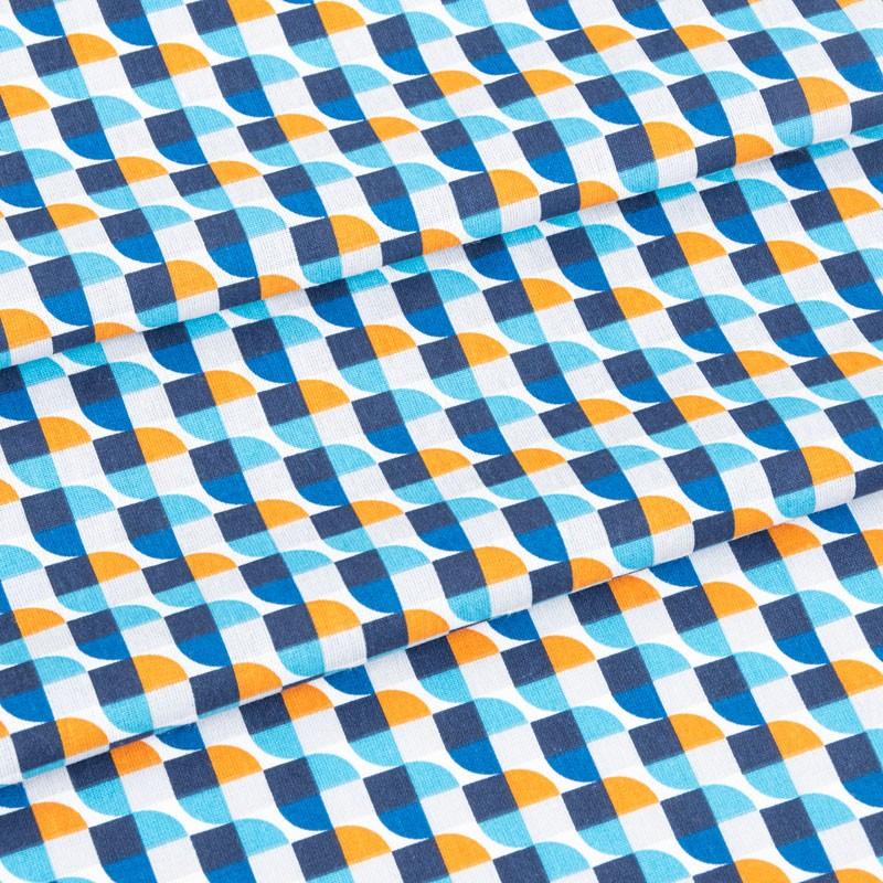 Tissu-coton-géométrique-vintage-bleu