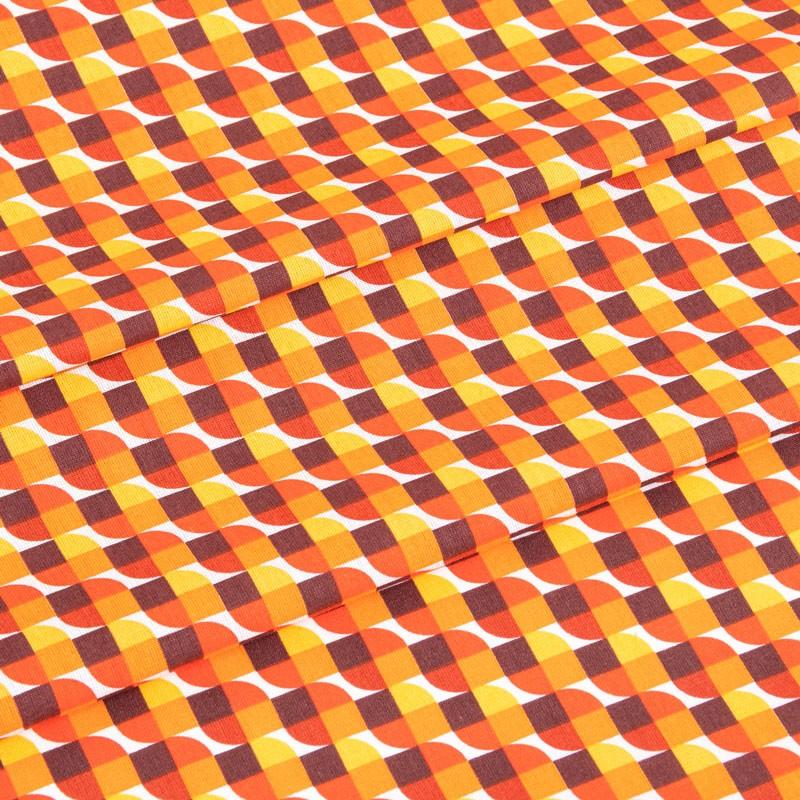 Tissu-coton-géométrique-vintage-orange