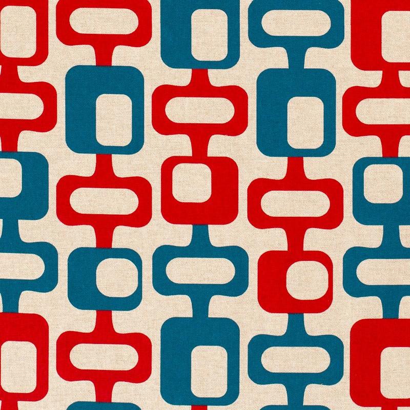 Tissu-look-lin-esprit-années-70-rouge-bleu