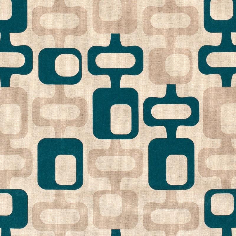 Tissu-look-lin-esprit-années-70-pétrole-beige