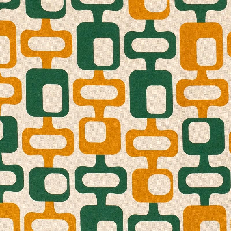 Tissu-look-lin-esprit-années-70-orange-vert