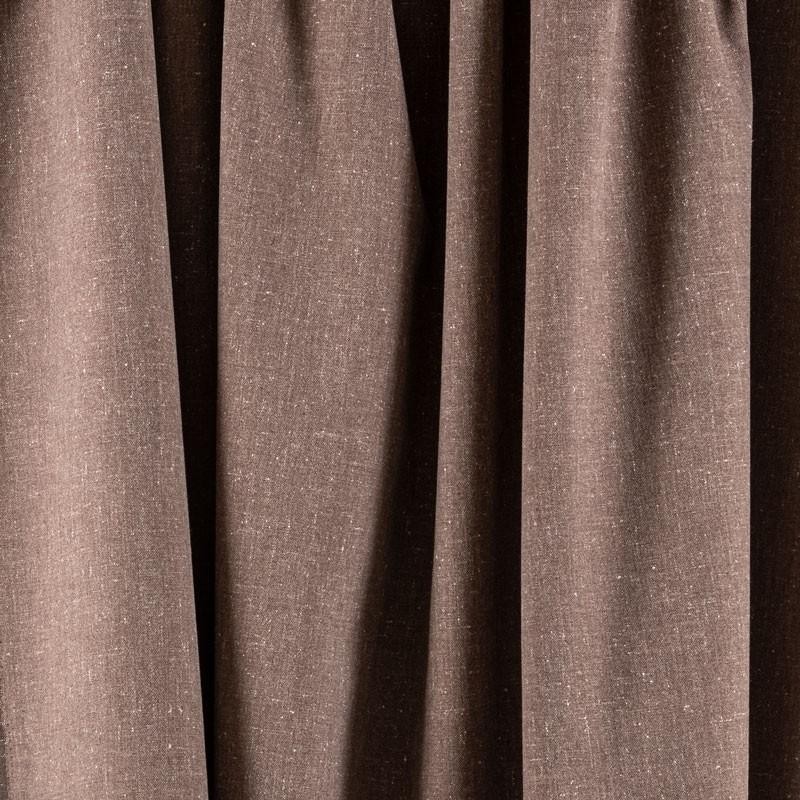 Tissu-chiné-aspect-lin-brun-roux