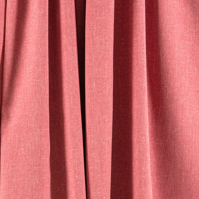 Tissu-chiné-aspect-lin-rouge