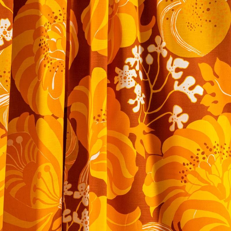 Tissu-vintage-fleuri-orange